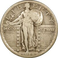 1918 25C STANDING LIBERTY SILVER QUARTER VF-EXTRA FINE   OLD TYPE COIN MONEY