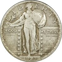1923 25C STANDING LIBERTY SILVER QUARTER VF  OLD TYPE COIN MONEY B