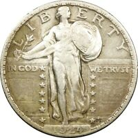 1924 25C STANDING LIBERTY SILVER QUARTER VF  OLD TYPE COIN MONEY B