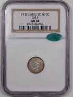 1837 CAPPED BUST HALF DIME - LARGE 5C LM-1 - NGC AU-58 PQ, CAC APPROVED
