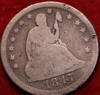 1847 O NEW ORLEANS MINT SILVER SEATED LIBERTY QUARTER