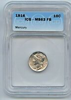 1916 MERCURY SILVER DIME MINT STATE 63FB ICG