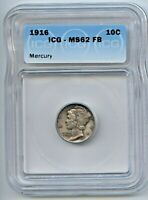 1916 MERCURY SILVER DIME MINT STATE 62FB ICG