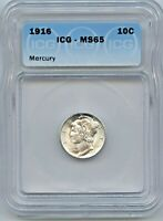 1916 MERCURY SILVER DIME MINT STATE 65 ICG