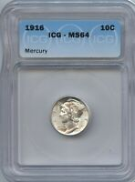 1916 MERCURY SILVER DIME MINT STATE 64 ICG
