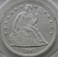 1845 SEATED LIBERTY DOLLAR PCGS MINT STATE 61 OGH