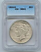 1924-S PEACE DOLLAR ICG MINT STATE 61