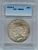 1924-S PEACE DOLLAR ICG MINT STATE 60