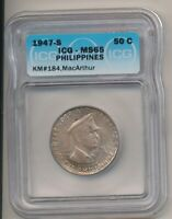 1947-S PHILIPPINES SILVER 50 CENTAVOS DOUGLAS MACARTHUR ICG MINT STATE 65 ORIG TONED258
