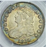 1830 50C  BLUE, RAINBOW AND GOLD ALBUM TONING  VF-35 CAPPED BUST HALF DOLLAR