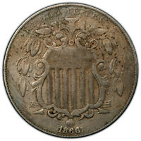 1866/1866 RAYS 5C PCGS VF FS-302  MAJOR SHIELD NICKEL REPUNCHED DATE VARIETY