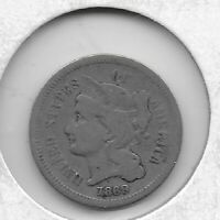 1869 3 CENT NICKEL  GOOD   COIN