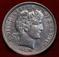 1908 S SAN FRANCISCO MINT SILVER BARBER DIME