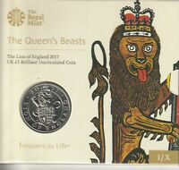 2017 QUEENS BEAST LION OF ENGLAND 5 BRILLIANT UNCIRCULATED S