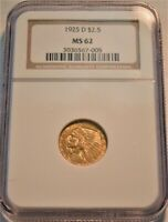 1925 D $2.50 NGC MS 62 GOLD INDIAN QUARTER EAGLE UNCIRCULATE
