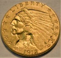 1912 $2.50 GOLD INDIAN QUARTER EAGLE HIGH GRADE LUSTROUS 2 A