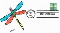 FDC DRAGONFLY 2008 HAND PAINTED CACHET BY BARNNIE