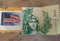 STAMPS ONE DOLLAR UNIQUE STAMP GREEN FLAG FOREVER USA RED WH