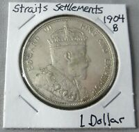 1904 B STRAITS SETTLEMENT SILVER DOLLAR LY SEEN