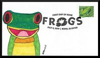 FDC FROGS 1 BOISE ID 2019 HAND PAINTED CACHET BY BARNNIE