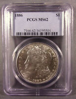 1886 P UNITED STATES MORGAN SILVER DOLLAR - PCGS GRADED MINT STATE 62 -  COIN