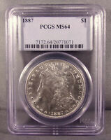 1887 P UNITED STATES MORGAN SILVER DOLLAR - PCGS GRADED MINT STATE 64