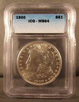 1900 P UNITED STATES MORGAN SILVER DOLLAR - ICG GRADED MINT STATE 64