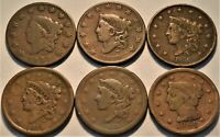 LOT OF  6  LARGE CENTS 1822 1830 1836 1838 1839 CORONET HEAD