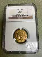 1912 $5 GOLD INDIAN COIN HALF EAGLE NGC MS61 MS 61 TOUGH DATE