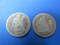 TWO SEATED LIBERTY. SILVER  DIMES   1888  AND 1888 S       C