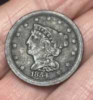 NICE 1854 1/2C BRAIDED HAIR HALF CENT  LOW MINTAGE  COPPER C