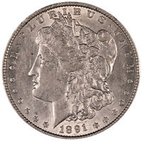 1891 MORGAN SILVER DOLLAR. A.U. CONDITION. MINT LUSTER. 0508
