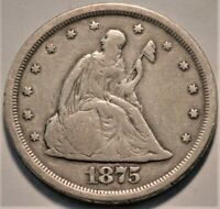 1875 S SEATED LIBERTY TWENTY CENT PIECE MIDDLE GRADE BETTER