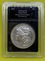 1903 P MORGAN DOLLAR 90 SILVER AUTHENTICATED  GOOD BRADFORD EXCHANGE