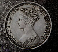 1855 GREAT BRITAIN ONE FLORIN OF QUEEN VICTORIA   SILVER