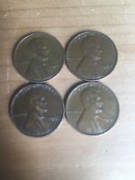 4 1941 1944 1952 1953 LINCOLN WHEAT CENT CENT NO MINT MARKS SET-LOT  4 COINS
