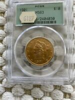 1901. 10 GOLD EAGLE COIN PCGS MS63 OLD GREEN HOLDER OGH