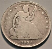 1839 SEATED LIBERTY HALF DOLLAR BETTER DATE TYPE COIN EDGE D