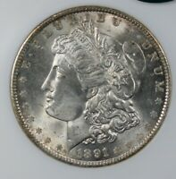 1891 MORGAN SILVER DOLLAR NGC CAC MINT STATE 63 COLLECTOR COIN, SHIPS FREE