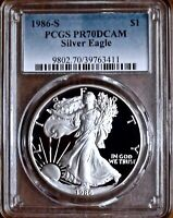 1986-S $1 PROOF SILVER EAGLE PCGS PR70DCAM | FIRST YEAR OF ISSUE |