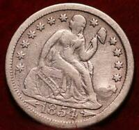 1854 O NEW ORLEANS MINT SILVER SEATED LIBERTY DIME WITH ARRO