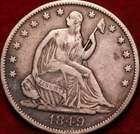 1849 PHILADELPHIA MINT SILVER SEATED HALF DOLLAR