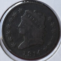 1814 1C CLASSIC HEAD CENT EARLY COPPER TYPE COIN CIRCULATED FINE