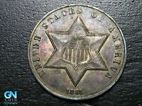 COLOR 1861 3 CENT SILVER PIECE  --  MAKE US AN OFFER  B5366
