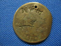 1843 US BRAIDED HAIR LARGE CENT ONE CENT COIN COUNTER STAMP