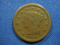 1846 US BRAIDED HAIR LARGE CENT ONE CENT COIN