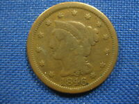 1846 US BRAIDED HAIR LARGE CENT ONE CENT COIN MEDIUM DATE