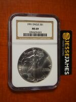 1991 $1 AMERICAN SILVER EAGLE NGC MINT STATE 69 CLASSIC BROWN LABEL