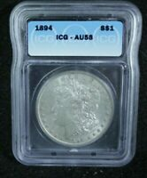 1894 MORGAN SILVER DOLLAR ICG AU 58 PROBLEM FREE COIN COULD PASS FOR UNC