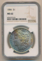 1886 TONED MORGAN SILVER DOLLAR. NGC MINT STATE 62